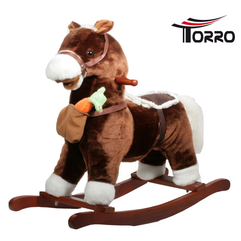 torro schaukelpferd mit magnetkarotte sound dunkelbraun. Black Bedroom Furniture Sets. Home Design Ideas