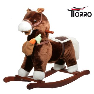 TORRO rocking horse with magnet carott, music and moveable mouth Darkbrown