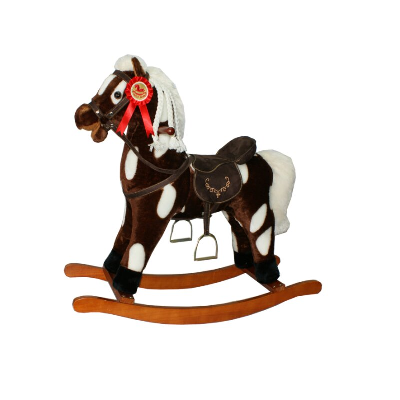 TORRO rocking horse brown/white pied with movable mouth & sound